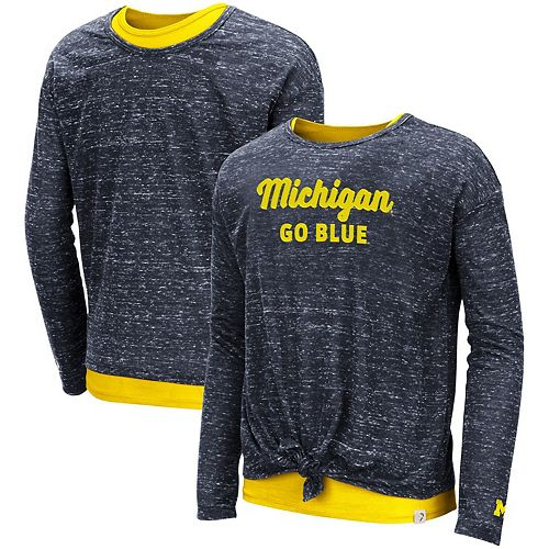 Girls Youth Colosseum Navy Michigan Wolverines Brain Double Layer Front Tie Long Sleeve T-Shirt