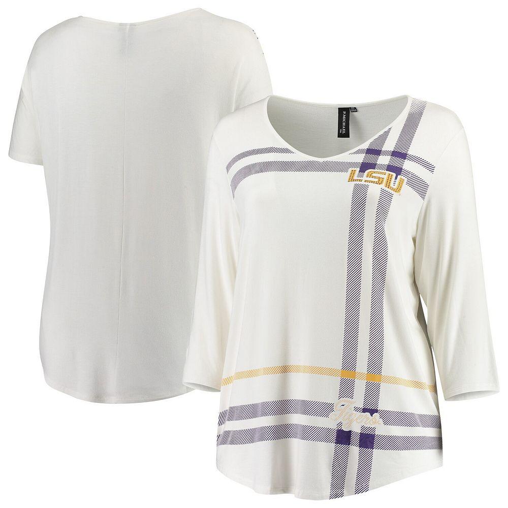 Women's White LSU Tigers Plus Size Missy Plaid 3/4-Sleeve V-Neck T-Shirt