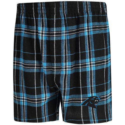 Men's Concepts Sport Black/Blue Carolina Panthers Hillstone Flannel Boxers