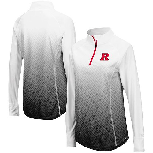 Women's Colosseum Black Rutgers Scarlet Knights Magic Ombre Quarter-Zip Raglan Jacket