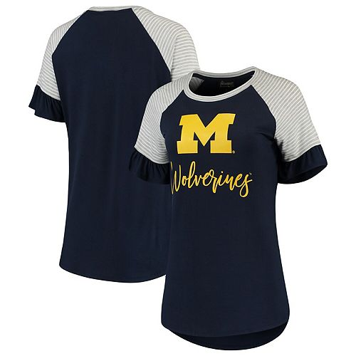 Women's Navy Michigan Wolverines Twist It Up Ruffle Sleeve Raglan T-Shirt