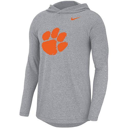 Men's Nike Heathered Gray Clemson Tigers Marled Long Sleeve Hoodie T-Shirt