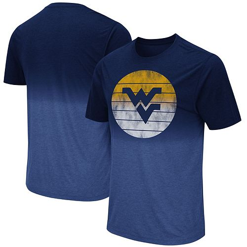 Men's Colosseum Navy West Virginia Mountaineers Fancy Walking Dip Dye T-Shirt