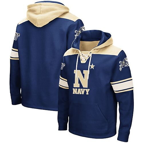 Men's Colosseum Navy Navy Midshipmen 2.0 Lace-Up Pullover Hoodie
