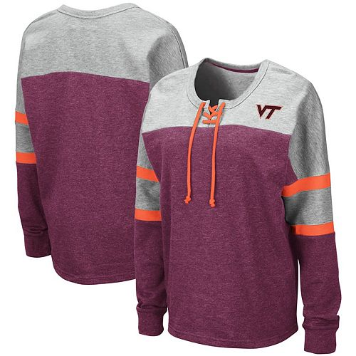 Women's Colosseum Maroon Virginia Tech Hokies Manolo Lace-Up French Terry Pullover Sweatshirt