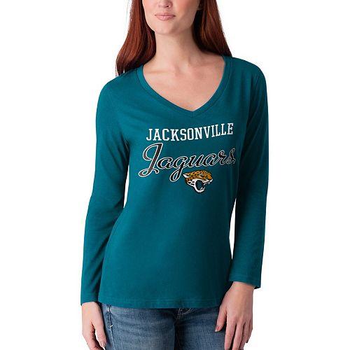 Women's G-III 4Her by Carl Banks Teal Jacksonville Jaguars Post Season Long Sleeve V-Neck T-Shirt