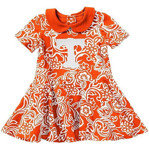 Girls Infant Colosseum Tennessee Orange Tennessee Volunteers Sasha Floral Dress