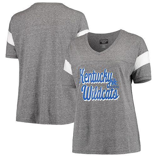 Women's Heathered Gray/White Kentucky Wildcats Plus Size Brunch Colorblock Tri-Blend V-Neck T-Shirt
