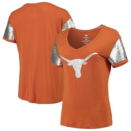 Women's Texas Orange Texas Longhorns Cherry Sequin Sleeve V-Neck T-Shirt