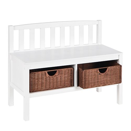 White Rattan Storage Bench