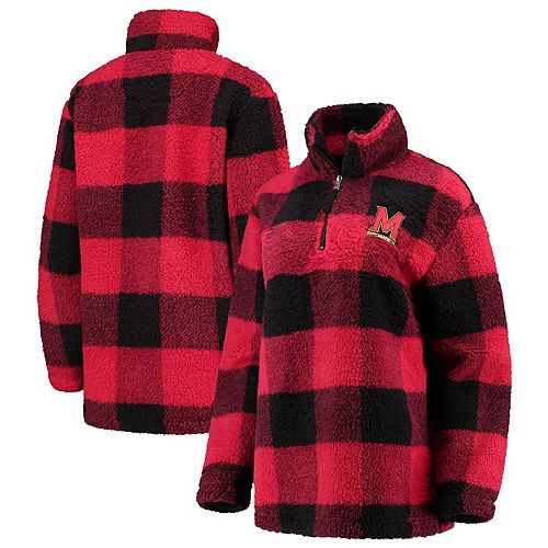 Women's Red/Black Maryland Terrapins Plaid Sherpa Quarter-Zip Pullover Jacket