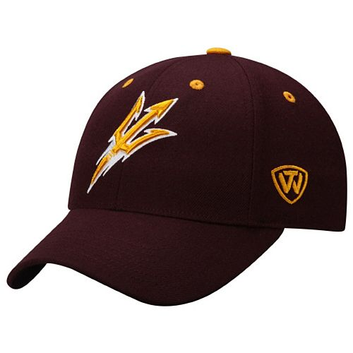Mens Arizona State Sun Devils Top of the World Maroon Dynasty Memory Fit Fitted Hat
