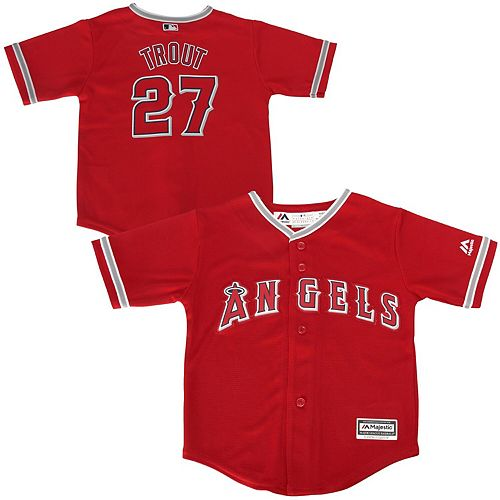 Toddler Majestic Mike Trout Red Los Angeles Angels Official Cool Base Player Jersey