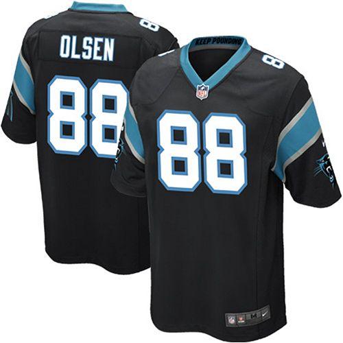Youth Carolina Panthers Greg Olsen Nike Black Team Color Game Jersey