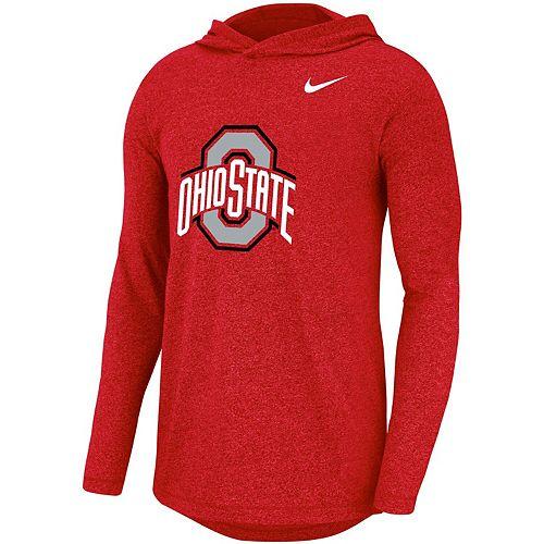 Men's Nike Scarlet Ohio State Buckeyes Marled Long Sleeve Hooded Team T-Shirt