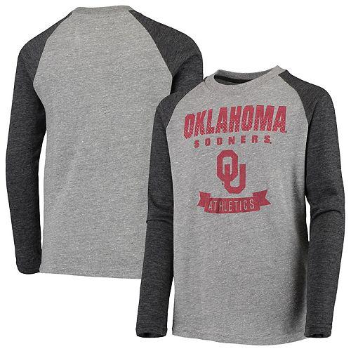 Youth Heathered Gray Oklahoma Sooners Equipped Raglan Tri-Blend Long Sleeve T-Shirt