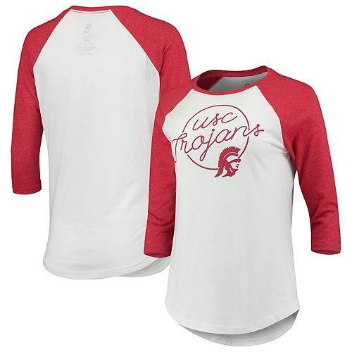 Women's White USC Trojans Garnet Stripe 3/4-Sleeve Raglan T-Shirt