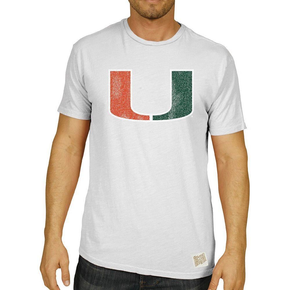 Men's Original Retro Brand White Miami Hurricanes Vintage School Logo Slub T-Shirt