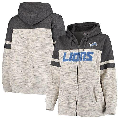 Women's Majestic Heathered Black Detroit Lions Plus Size Full-Zip Varsity Pop Hoodie