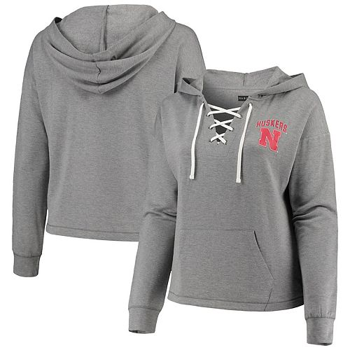 Women's 5th & Ocean by New Era Heathered Gray Nebraska Cornhuskers Plus Size Lace-Up Pullover Hoodie
