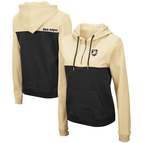 Women's Colosseum Gold Army Black Knights Aidan Half-Zip Pullover Hoodie