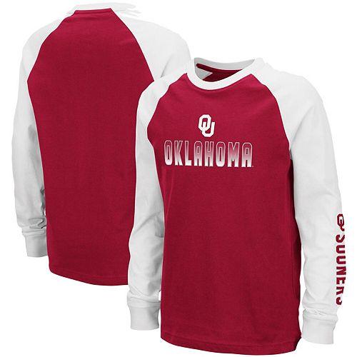 Youth Colosseum Crimson Oklahoma Sooners Beanie Raglan Long Sleeve T-Shirt