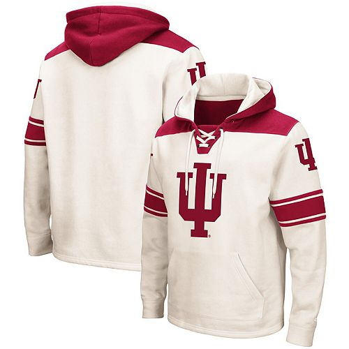 Men's Colosseum Cream Indiana Hoosiers 2.0 Lace-Up Pullover Hoodie