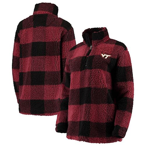 Women's Maroon/Black Virginia Tech Hokies Plaid Sherpa Quarter-Zip Pullover Jacket