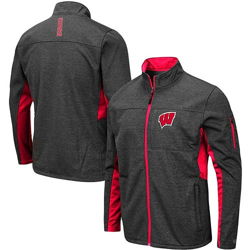 Men's Colosseum Heathered Charcoal Wisconsin Badgers Big & Tall Bumblebee Full-Zip Jacket