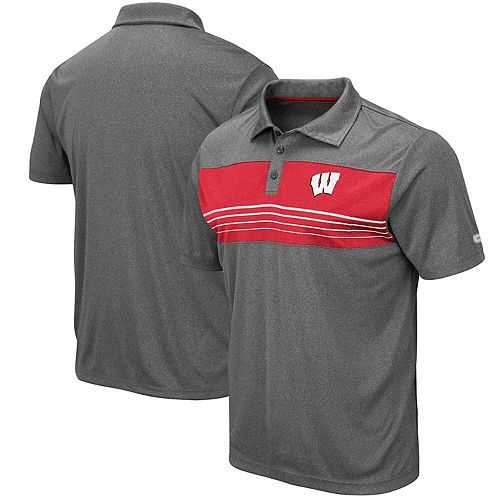 Men's Colosseum Heathered Charcoal Wisconsin Badgers Smithers Polo