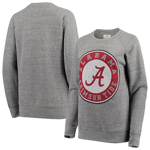 Women's Pressbox Heathered Gray Alabama Crimson Tide Big Team Logo Knobi Fleece Tri-Blend Crew Neck Sweatshirt