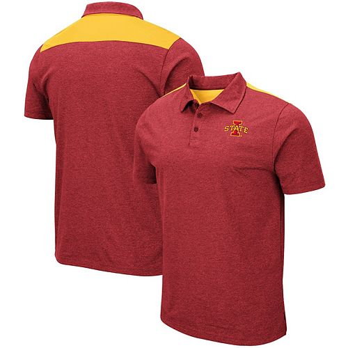 Men's Colosseum Heathered Cardinal Iowa State Cyclones I Will Not Polo