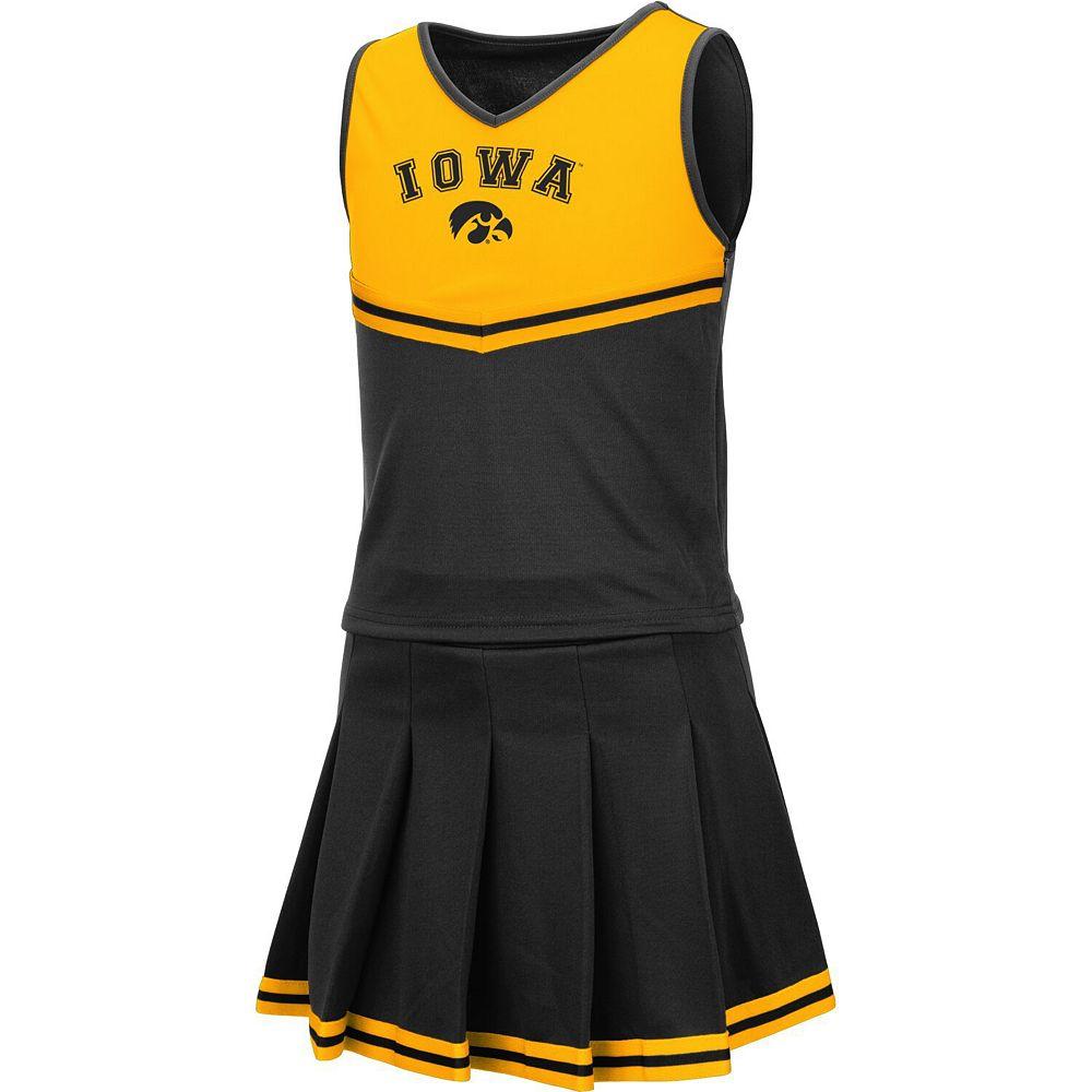 Girls Youth Colosseum Black Iowa Hawkeyes Pinky Cheer Dress