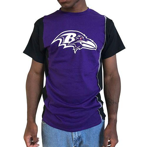 Men's Refried Apparel Purple/Black Baltimore Ravens Upcycled Split T-Shirt