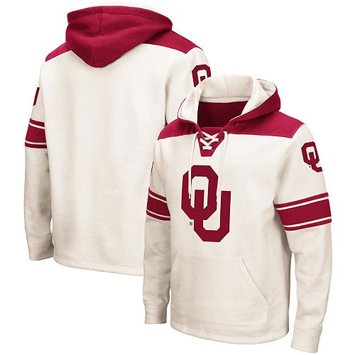 Men's Colosseum Cream Oklahoma Sooners 2.0 Lace-Up Pullover Hoodie