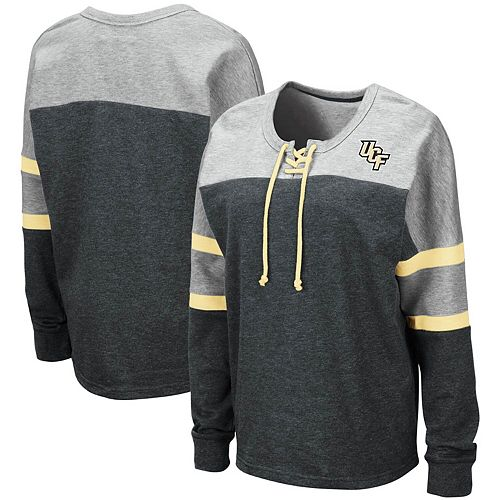 Women's Colosseum Black UCF Knights Manolo Lace-Up French Terry Pullover Sweatshirt
