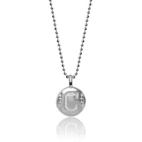 Women's Alex Woo Cleveland Indians Sterling Silver Disc Necklace