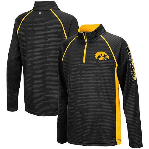 Youth Colosseum Black Iowa Hawkeyes Mime Raglan Quarter-Zip Pullover Sweatshirt