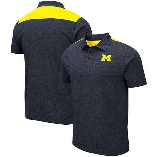 Men's Colosseum Heathered Navy Michigan Wolverines I Will Not Polo