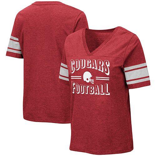 Women's Colosseum Heathered Crimson Washington State Cougars Blue Blood Football V-Neck T-Shirt