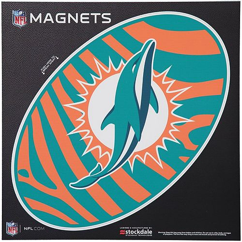 "Miami Dolphins Zebra 12"" x 12"" Oval Full Color Magnet"
