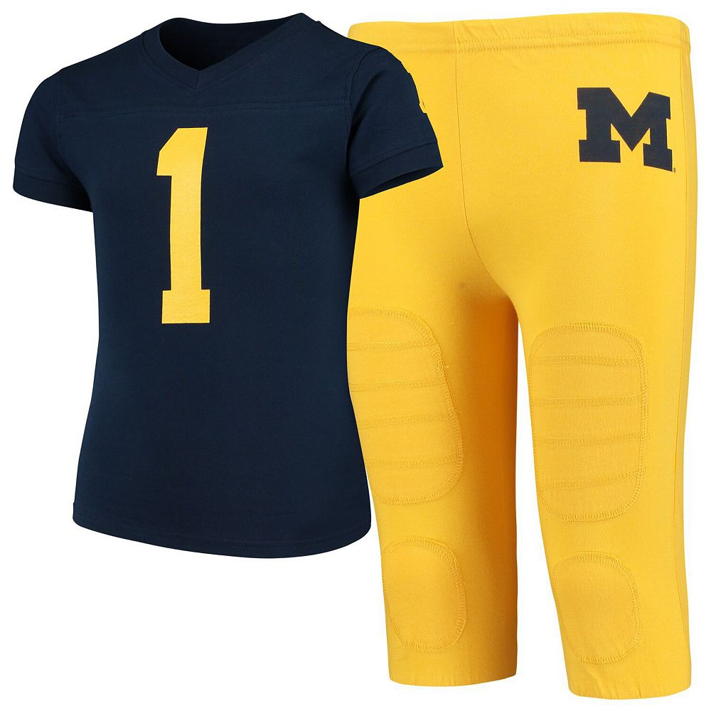 Youth Wes & Willy Navy Michigan Wolverines Football Sleep Set