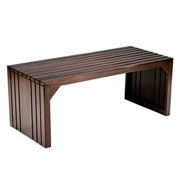 Rustic Contemporary Slat Bench