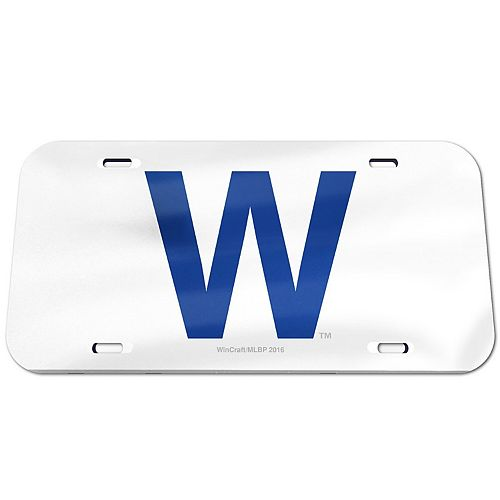 WinCraft Chicago Cubs W Logo Crystal Mirror License Plate