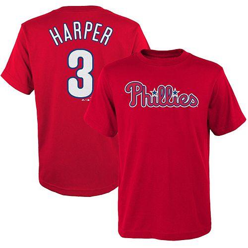 Preschool Majestic Bryce Harper Red Philadelphia Phillies Name & Number T-Shirt