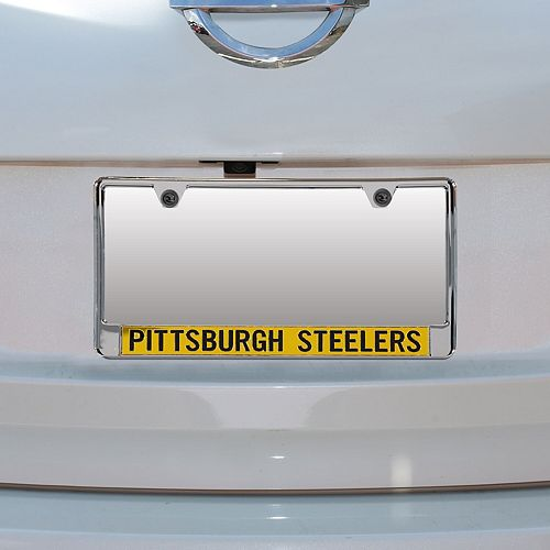 Pittsburgh Steelers Mirror With Color Letters License Plate Frame