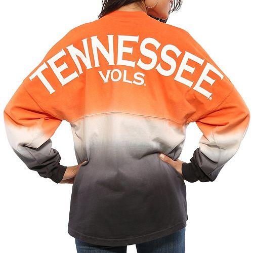 Women's Tenn Orange Tennessee Volunteers Ombre Long Sleeve Dip-Dyed Spirit Jersey