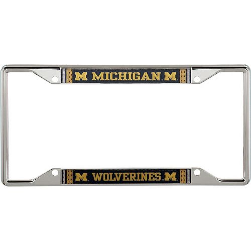 Michigan Wolverines Jersey Small Over Small Metal Acrylic Cut License Plate Frame