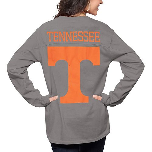 Women's Pressbox Gray Tennessee Volunteers The Big Shirt Oversized Long Sleeve T-Shirt