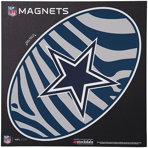 "Dallas Cowboys Zebra 12"" x 12"" Oval Full Color Magnet"